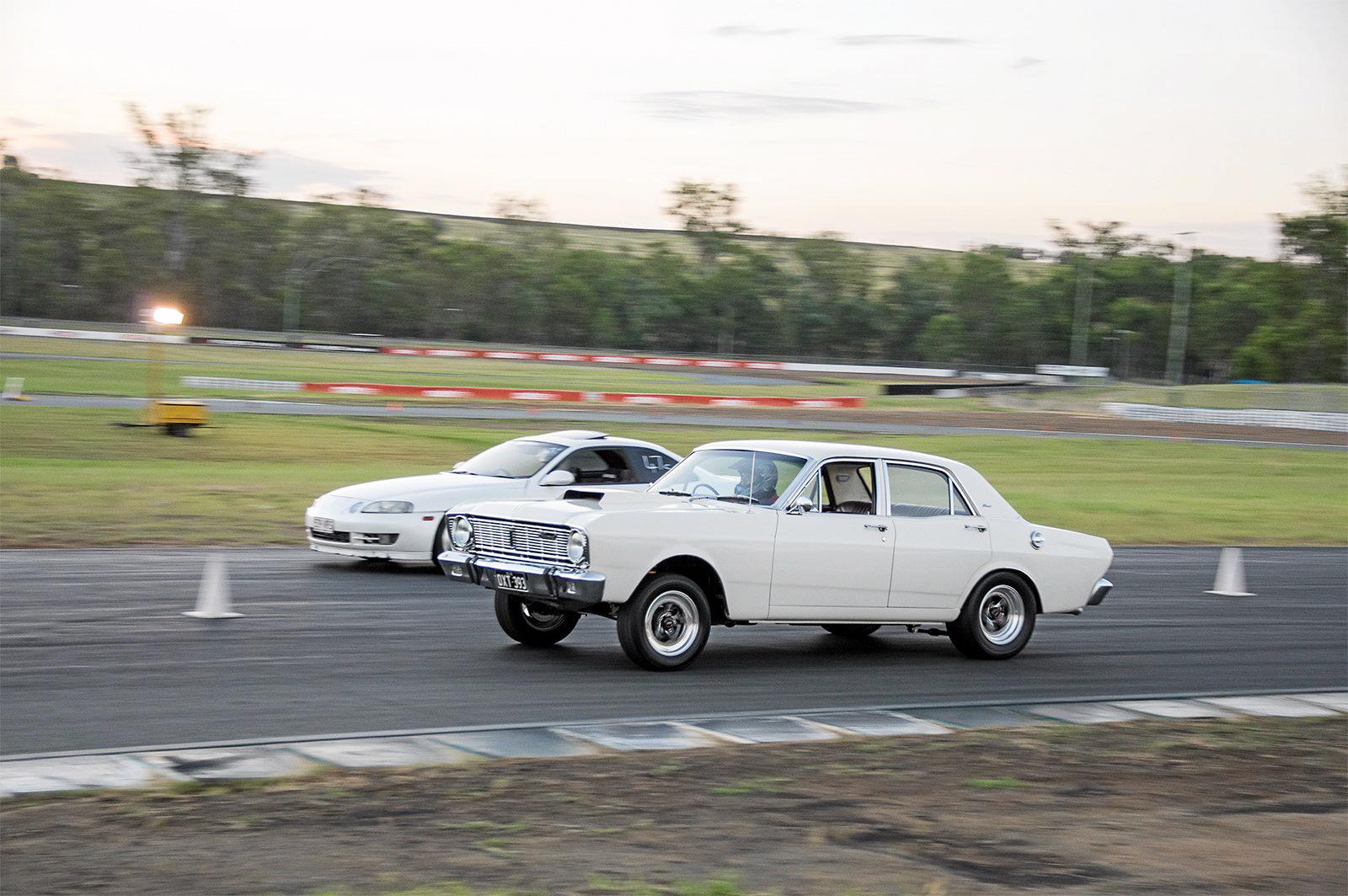 Saturday night roll racing at Queensland Raceway.