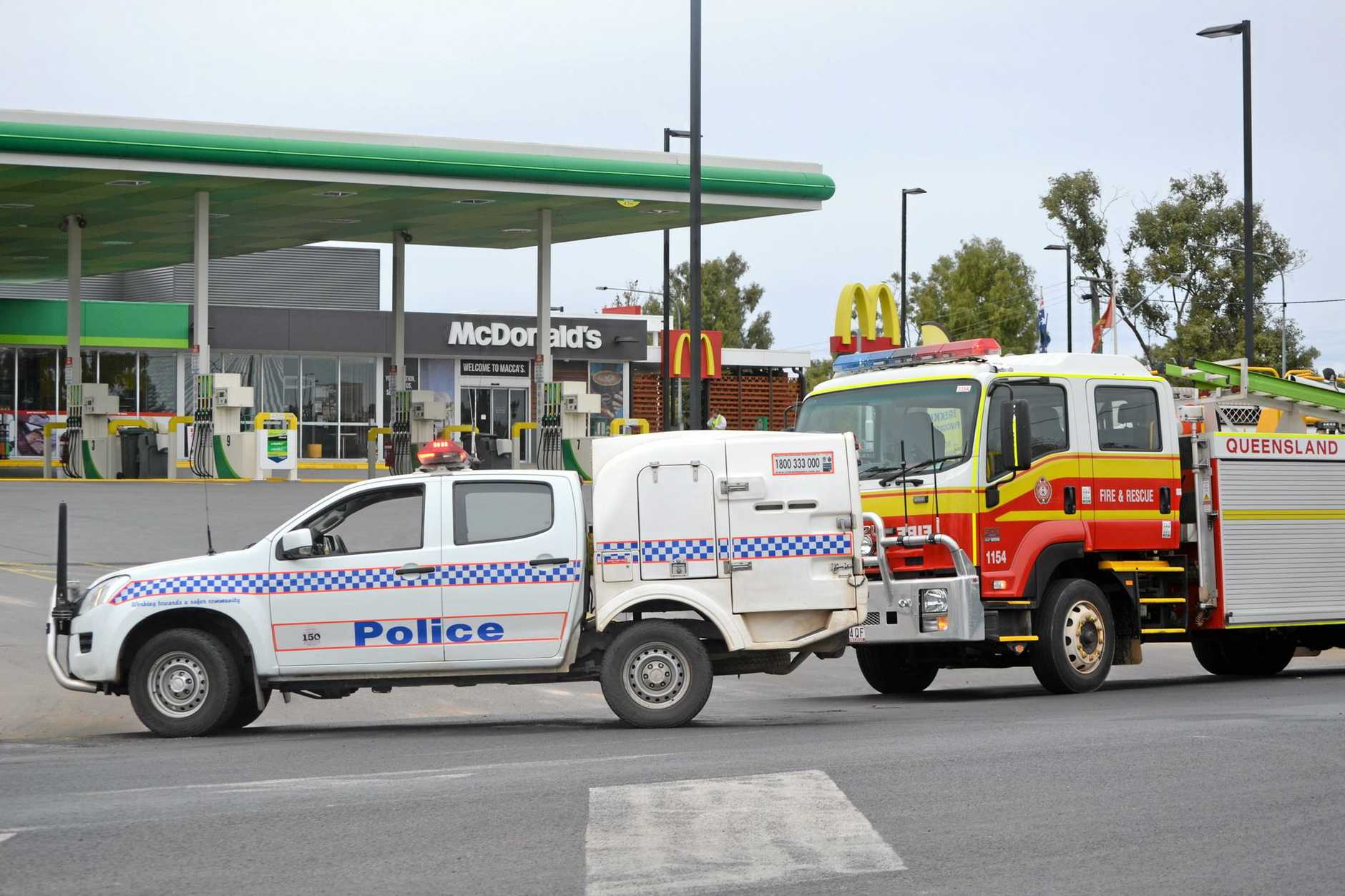 Emergency services on scene at a suspected gas leak at Chinchilla BP Service Station and McDonalds. July 14, 2016.