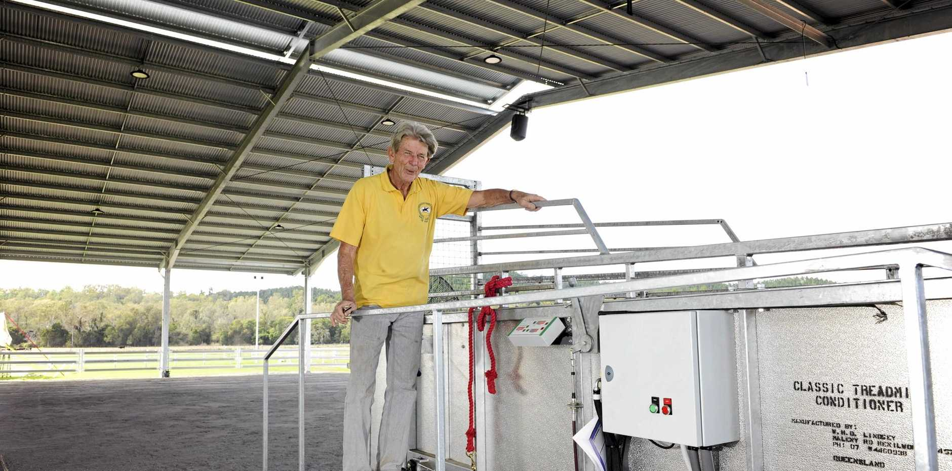 HORSE GYM: Bob Sample with the centre's $60,000 horse treadmill.