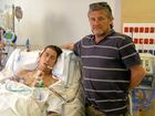 Matthew Mitchell with his father Peter at Royal North Shore Hospital.