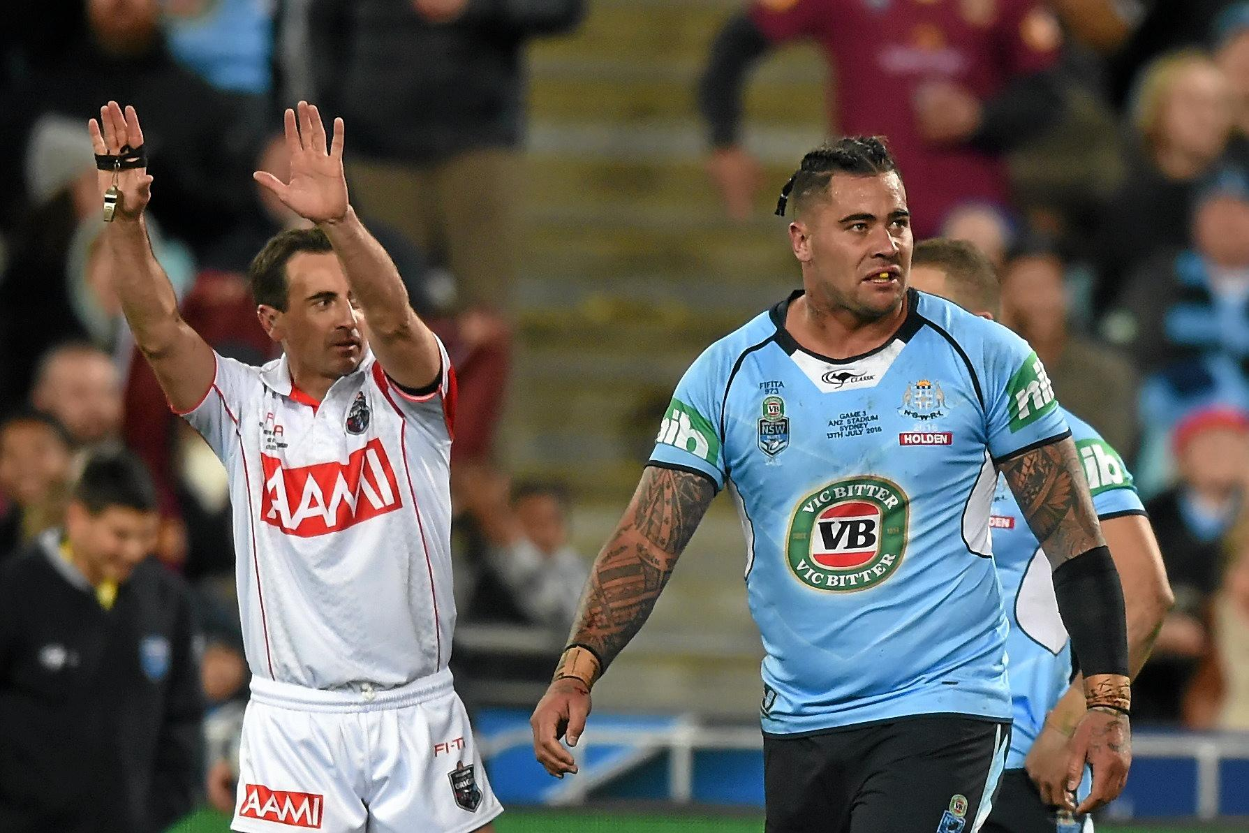 BRAIN SNAP: Andrew Fifita of the Blues is sent to the sin bin during State of Origin game three.