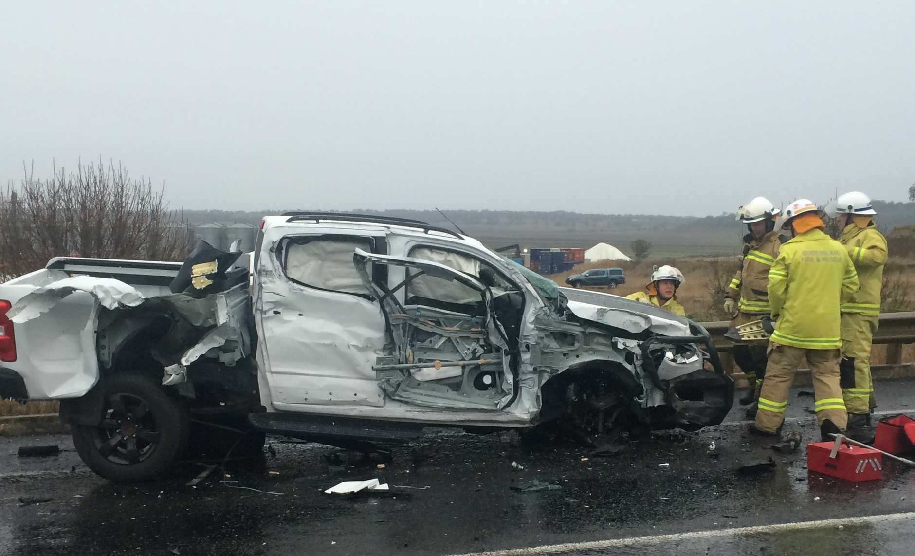 One of the vehicles involved in a crash between a truck and two vehicles just west of Toowoomba.