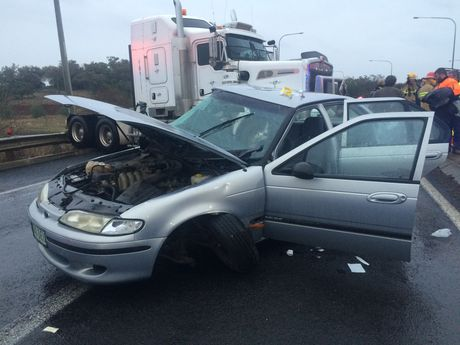 A horror crash near Toowoomba on the Warrego Hwy.
