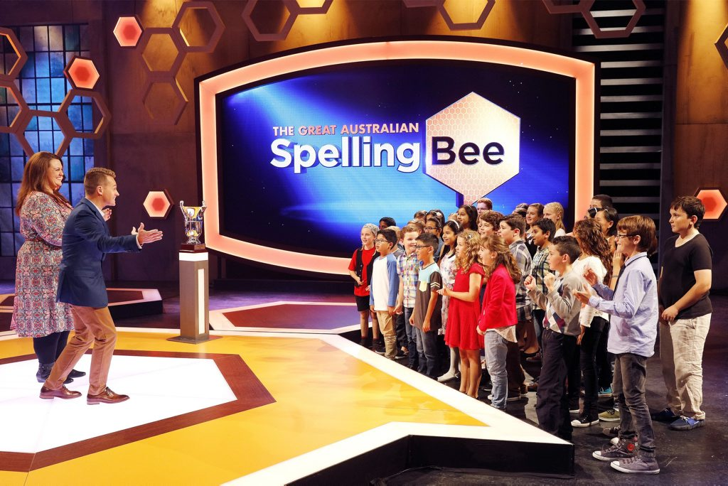 Chrissie Swan and Grant Denyer in a scene from the second season of The Great Australian Spelling Bee.