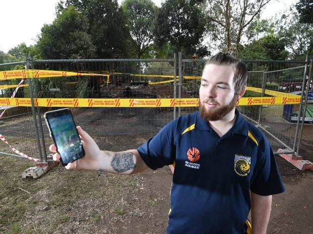 Matthew Hanlon, of Lismore, was Pokemon Go when he saw the fire that engulfed play equipment at Heritage Park. Photo Marc Stapelberg / The Northern Star