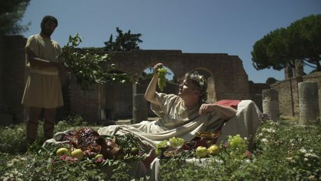Historian John Dickie in a scene from the TV series Eating History: Italy.