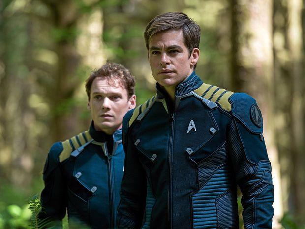 Anton Yelchin and Chris Pine in a scene from the movie Star Trek Beyond.