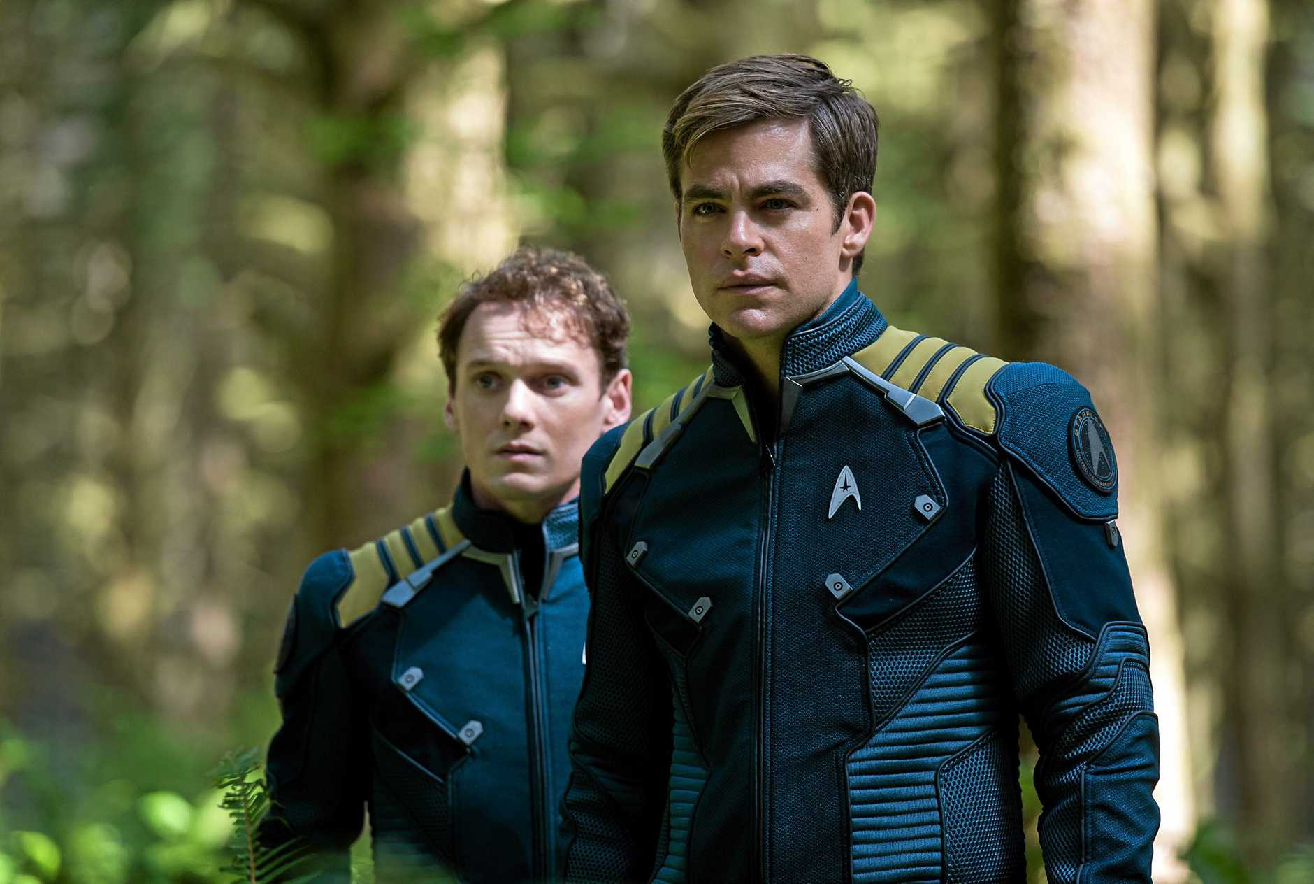 Anton Yelchin and Chris Pine in a scene from the movie Star Trek Beyond.