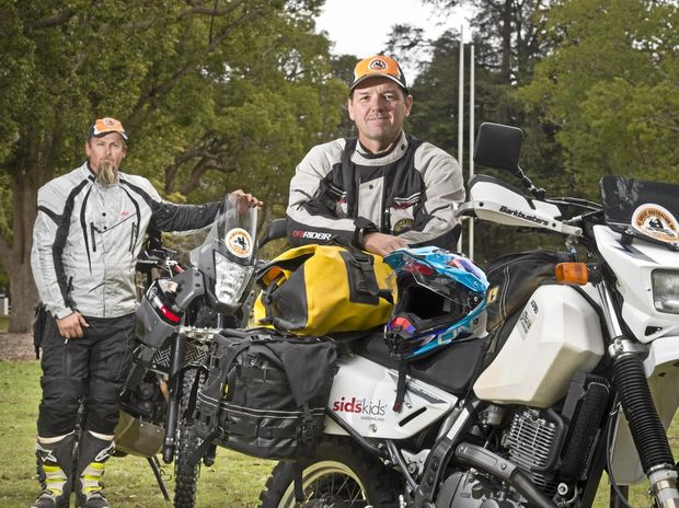 CHARITY RIDE: Wade Mears (left) and Mark Hancock prepare to take part in the Great Australian Ride to raise money for SIDS and Kids.
