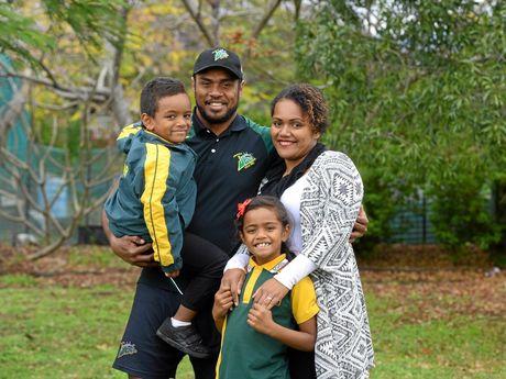 Ipswich Jets speedster Nemani Valekapa has finally been granted Australian residency. Photographed at home in Kalber with his family Nemani Jnr, Sereana and his wife, Va.