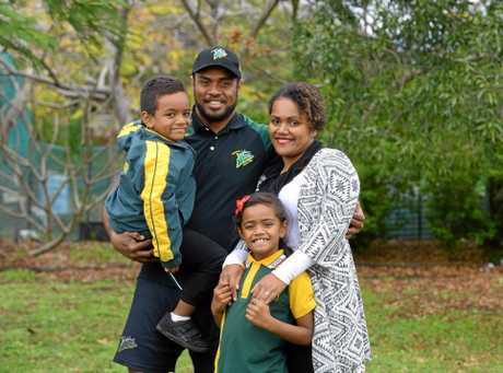 Ipswich Jets speedster Nemani Valekapa has finally been granted Australian residency. Photographed at home in Kalber with his family Nemani Jnr, Sereana and his wife, Va.