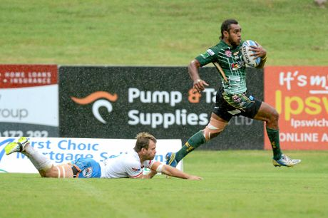 Ipswich Jets versus Northern Pride at North Ipswich Reserve. Jets #4 Nemani Valekapa makes a bust resulting in a try. Photo: Kate Czerny / The Queensland Times