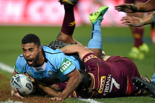 TRY TIME: Blues star Michael Jennings scores a try during game three of the 2016 State of Origin series. In a historic first Perth will host game two of the 2019 series.