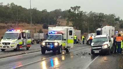 The scene at the crash near Oakey on the Warrego hwy.