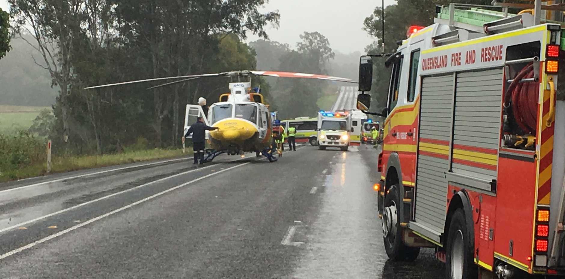 A two-vehicle crash near The Leap, Bruce Hwy.