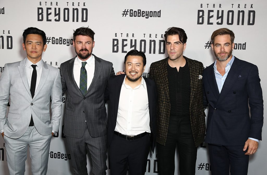 John Cho, Karl Urban, Director Justin Lin, Zachary Quinto and Chris Pine arrive ahead of the Star Trek Beyond Australian premiere in Sydney.