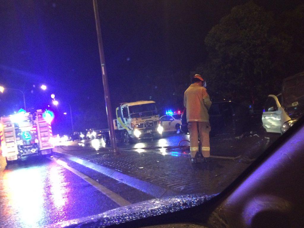 CARNAGE: The scene of a head-on crash on the Sunshine Mwy at Mooloolaba tonight.