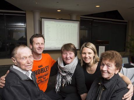 South Toowoomba by-election independent candidate Di Thorley with parents Michael and Joyce Pylybiw and children Willem Van den Broek and Vanessa Van den Broek at a post election gathering at Picnic Point's function centre.