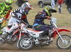 Jarrod Groucott (front) is competing in the mini-X motorbike races at Glenugie on Saturday, 16th July, 2016.