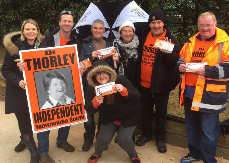 Independent Di Thorley with supporters including Cr Bill Cahill at Toowoomba South by-election day.