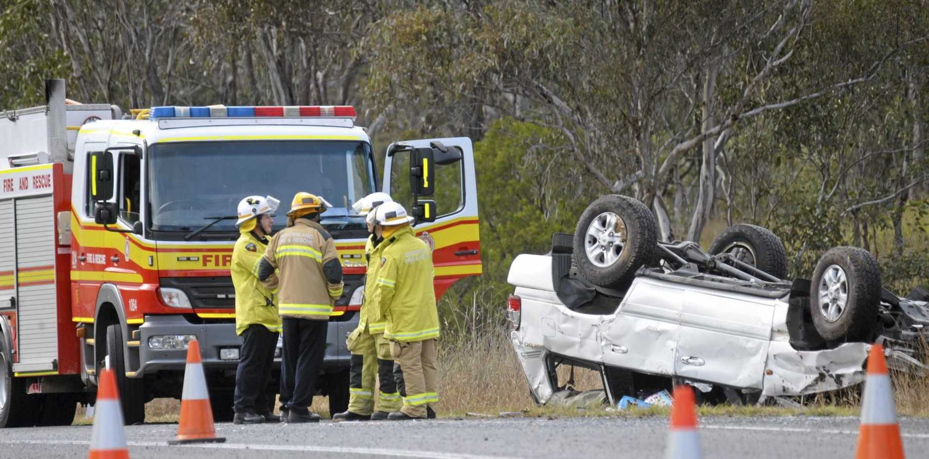 The scene at a fatal accident on the Cunningham Highway at Tregony this morning.
