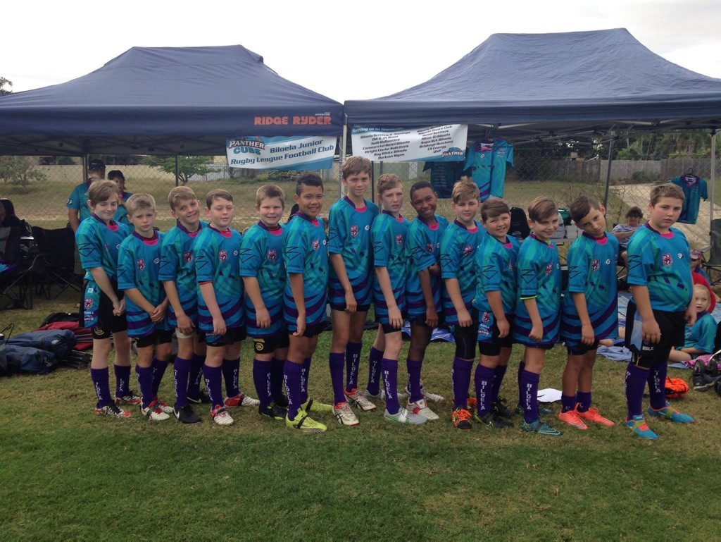 Biloela Panther Cubs under-11s ready to run out for their first match in the 2016 Laurie Spina Shield in Townsville. Photo contributed