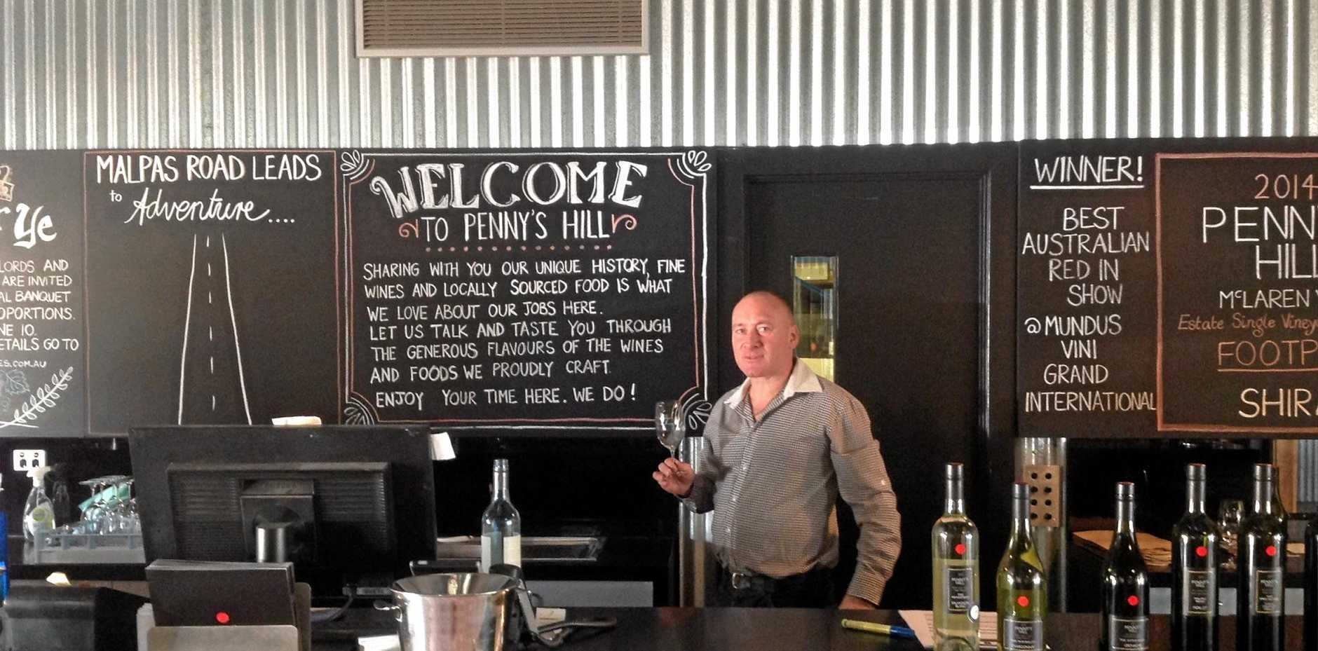 Pete Govey in the tasting room at Penny's Hill Vineyard.