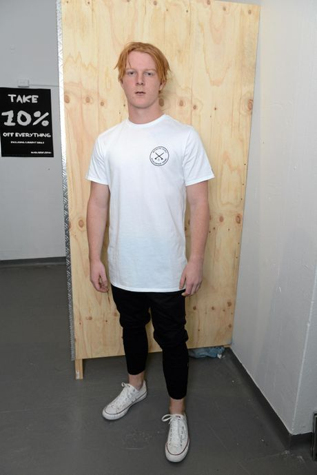 IN STORE: Damon Woodley models a Monsta Surf tee $54.95 and Andreas denim jeans $99.95.