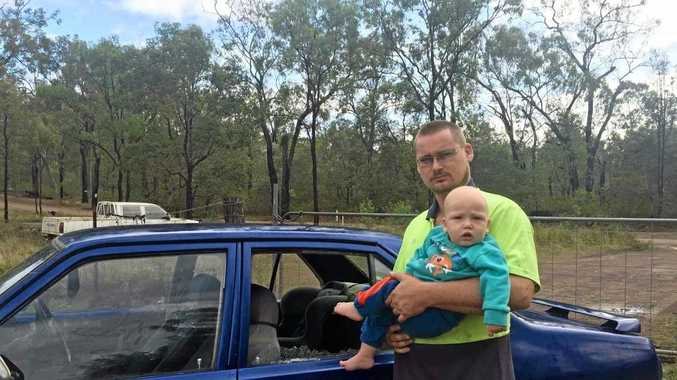 CLOSE CALL: Keegan Slater said his car window, near where his nine-month-old son was sitting, was smashed by debris on Duckpond Rd.