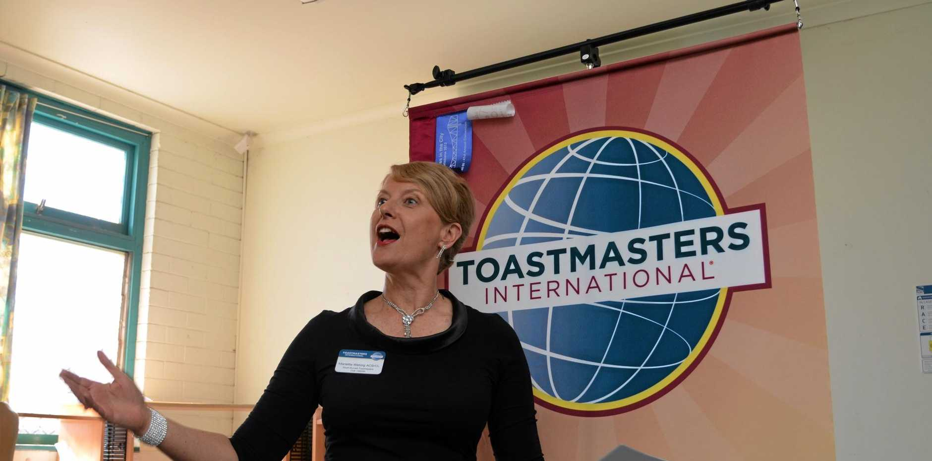CONFIDENCE: Improve your public speaking skills with Toastmasters International.