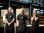 MasterChef Australia Top 6 contestants Matt Sinclair, Trent Harvey and Mimi Baines face off in a pressure test. Supplied by Channel 10.