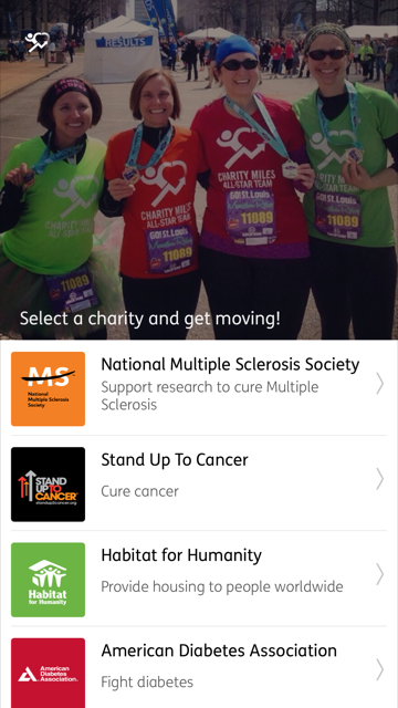 A screenshot of the Charity Miles app