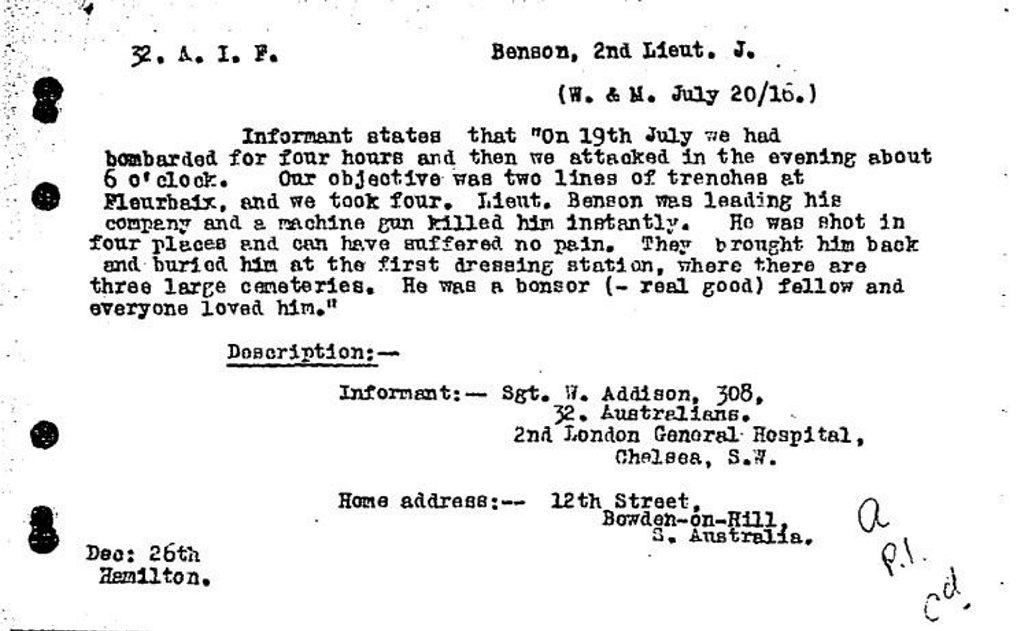 KILLED IN ACTION: Bundaberg-born soldier Lt James Benson died in Fromelles.