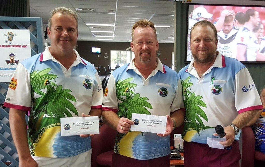 WINNERS: Darren Schmidtke, Paul Foot and Mark Glew won Seaforth's annual $6750 Triples Carnival at the weekend.