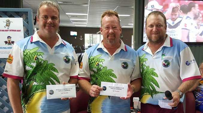 WINNERS: Darren Schmidtke, Paul Foot and Mark Glew won Seaforth's annual $6750 Triples Carnival at the weekend.