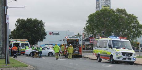 The crash happened on the roundabout outside Caneland shopping centre.