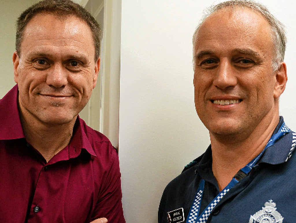 CYBER TALK: Brad Huddleston and Sergeant Nigel Dalton.