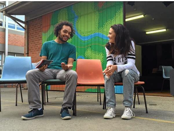 FINAL REHEARSAL: Kaiyai Doenau runs lines with fellow Cosi performer, Angela Robinsen.