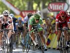 CLOSE FINISH: Tinkoff rider Peter Sagan (centre) of Slovakia sprints to win the 16th stage of the 103rd edition of the Tour de France ahead of Team Katusha's Alexander Kristoff (right) of Norway in second and Team Giant Alpecin's John Degenkolb (left) of Germany in third.