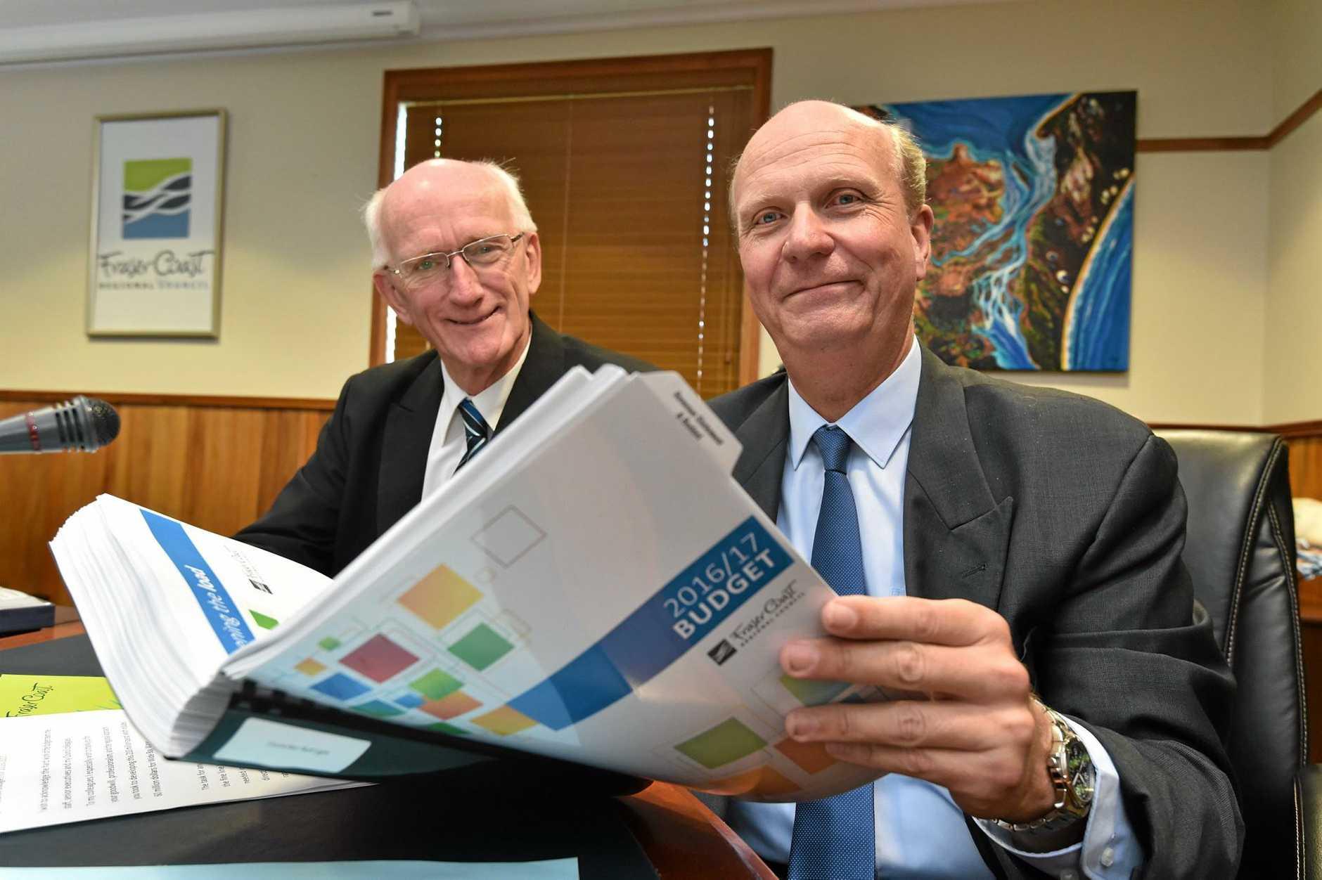 Fraser Coast Regional Council 2016/17 budget - Mayor Chris Loft with Cr. Rolf Light.