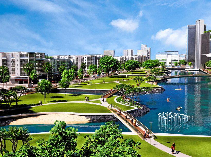 An artist's impression of the new Maroochydore CBD. The SunCentral development was launched today with Premier Annastacia Palaszczuk in town for the official sod turning.