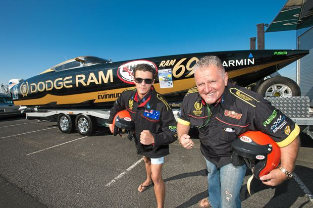 FAST LANE: Regular participant in the superboat champs Conn Saloumieis and his son Con will again compete when the event returns to Coffs Harbour.