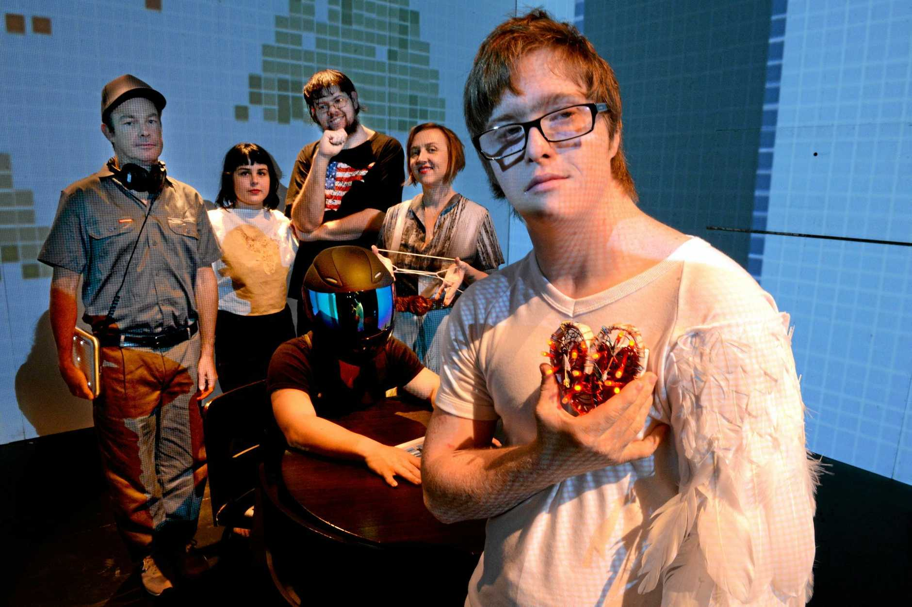 Performers in the NORPA co-production My Radio Heart, from left, Randolf Reimann, Phoebe Rose, Mathew Daymond, Claudie Frock, Zac Mifsud (sitting), and Lydian Dunbar. Photo Cathy Adams / The Northern Star