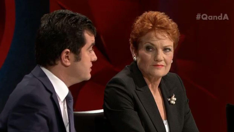 Labor Senator Sam Dastyari with One Nation leader and Senator-elect Pauline Hanson on Q&A;.