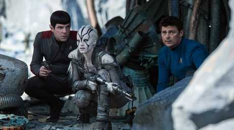 Zachary Quinto, Sofia Boutella and Karl Urban in a scene from Star Trek Beyond.