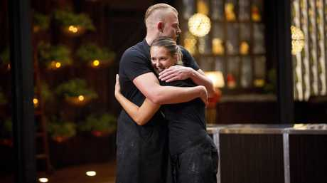 Harry Foster and Mimi Baines pictured during tonight's elimination test on MasterChef.