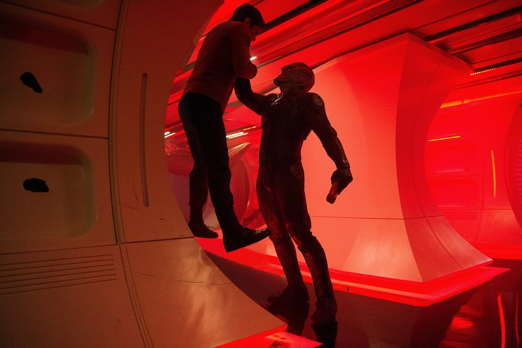 Chris Pine and Idris Elba in a scene from the movie Star Trek Beyond.