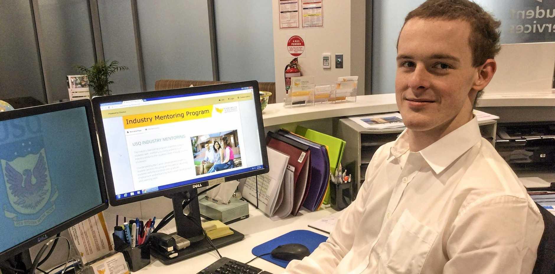 HELP: USQ student Xavier Gunn has registered for the online Industry Mentoring Program.