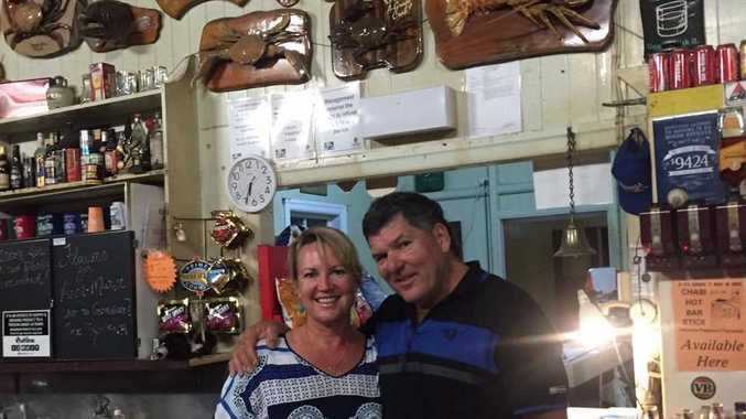 Rowena and Ray Colgrave from Koumala Pub are collecting donations for residents of the village who lost their home in a fire.