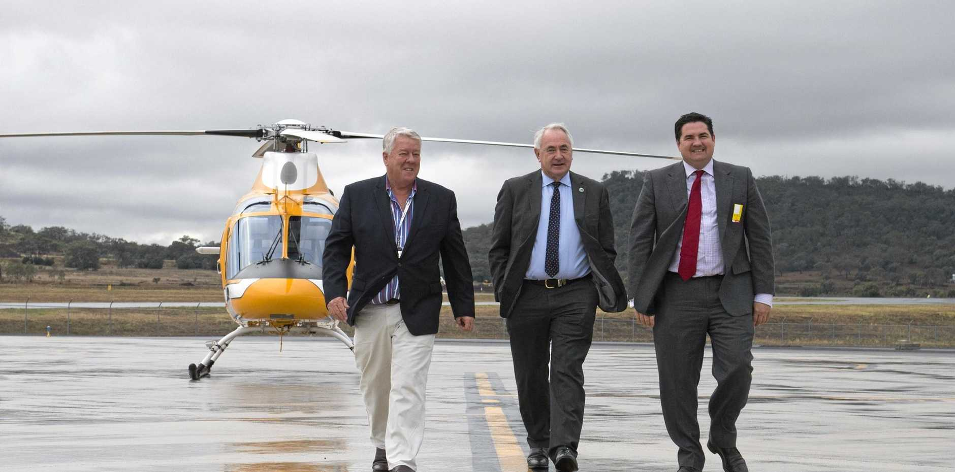 CHINA TRIP: On the tarmac are (from left) John Wagner, Paul Antonio and Ben Lyons at TSBE's Access China 16 delegation announcement taking passengers from Wellcamp airport to China flying Qantas for a five-day program aimed at activating trade opportunities.
